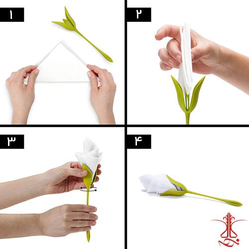 آموزش استفاده از نگهدارنده دستمال سفره طرح گل رز
